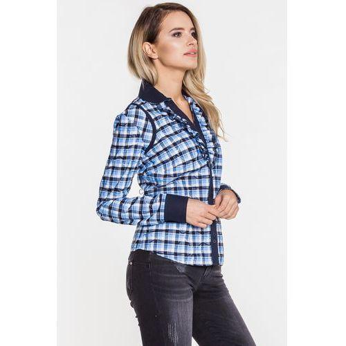 Bluzka w kratkę z żabotem - Duet Woman, kolor niebieski
