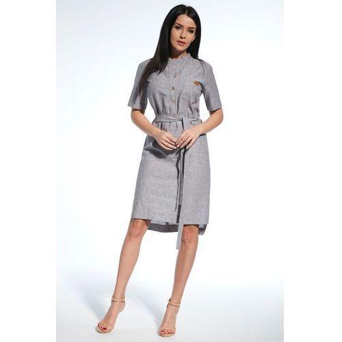 Lniana sukienka z paskiem - Ennywear