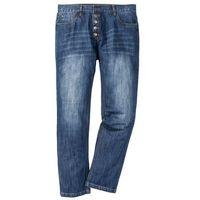 Dżinsy z widocznymi guzikami rozporka Regular Fit Straight bonprix niebieski