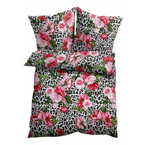 Pościel w cętki leoparda i kwiaty biało-jasnoróżowy marki Bonprix