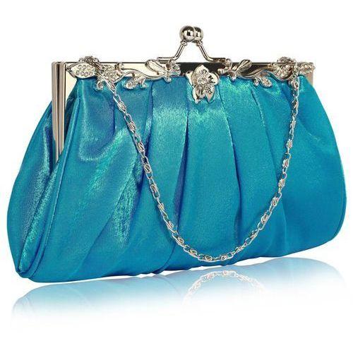 Delikatna satynowa torebka wieczorowa niebieska - niebieski marki Wielka brytania