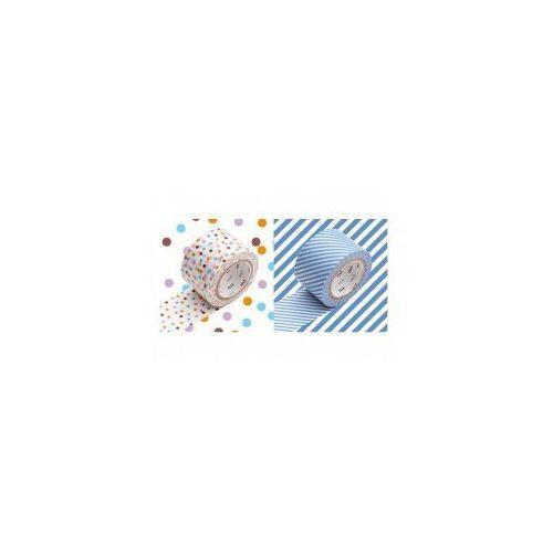 Masking tape mt Taśma washi - zestaw drop lavender stripe light blue