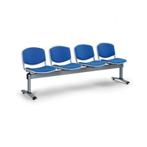Ławka do poczekalni livorno, tapicerowana 4 siedzenia, niebieski marki Euroseat