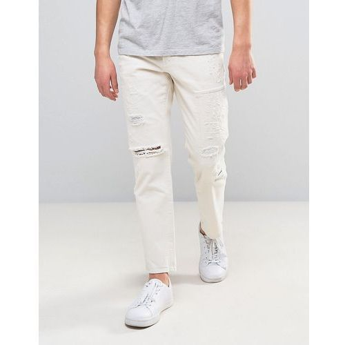 River Island Loose Fit Jeans With Rips In White Wash - White