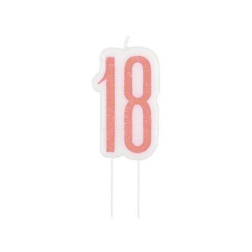 Brokatowa różowo-złota świeczka na 18-tke - 1 szt. marki Unique