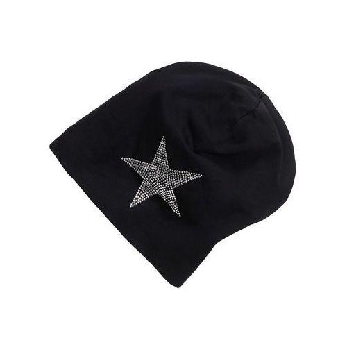Bonprix Czapka beanie z dżerseju ze sztrasami czarny - gwiazda