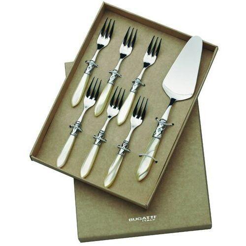 Casa Bugatti - ALADDIN - Komplet 6 widelczyków do ciasta + łopatka - perłowa kość słoniowa