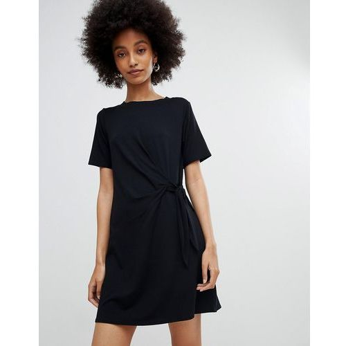 black ruched side jersey tunic dress - black, New look