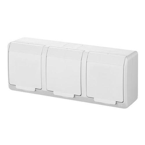 Gniazdo 3x2P+Z natynkowe białe potrójne IP44 0323-02 (5901130483921)