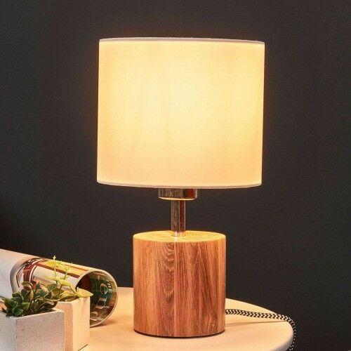 Lampa stołowa Trongo, drewno, czarno-biały kabel, 22527423675
