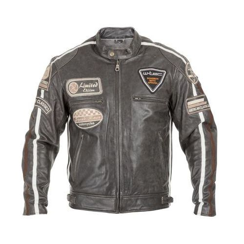 Męska skórzana kurtka motocyklowa buffalo cracker, brązowo-szary, 5xl marki W-tec