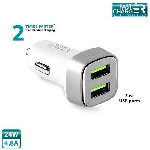 PURO Mini Car Fast Charger - Uniwersalna ładowarka samochodowa 2 x USB, 4.8 A square (biały)