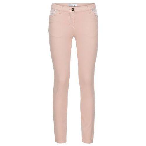 Spodnie ze stretchem SKINNY z cekinami bonprix stary jasnoróżowy
