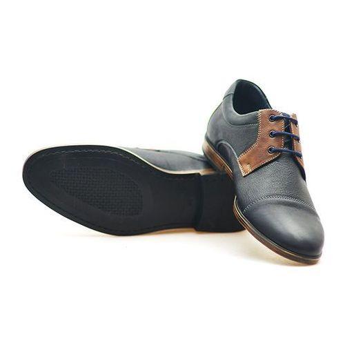 Pantofle Pan 920 Granatowe/Brązowe
