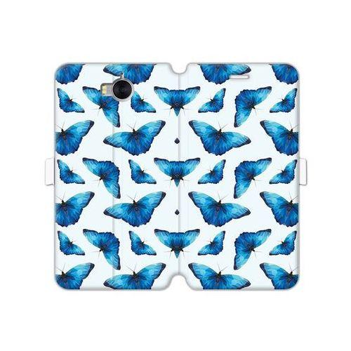Huawei Y5 (2017) - etui na telefon Wallet Book Fantastic - niebieskie motyle, kolor niebieski