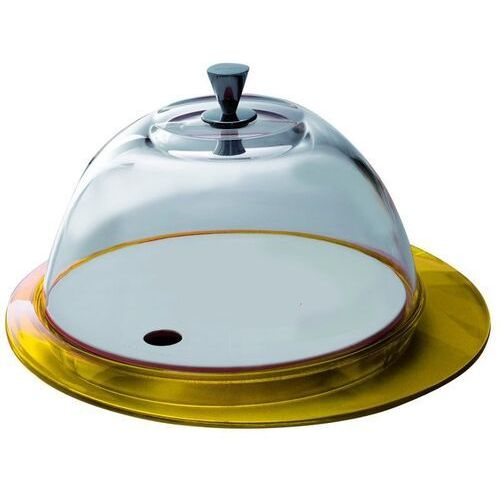 Casa bugatti - glamour - patera ze szklaną pokrywą - żółta