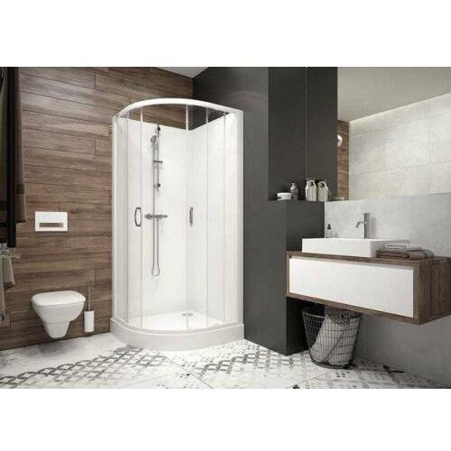 basic complete kckp4/basic-s+bpza kabina prysznicowa 90 cm półokrągła szkło przezroczyste z brodzikiem i zestawem prysznicowym 602-460-0930-01-4b0 marki Sanplast