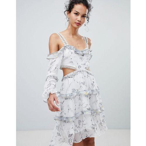Glamorous cold shoulder floral midi dress - White, w 3 rozmiarach