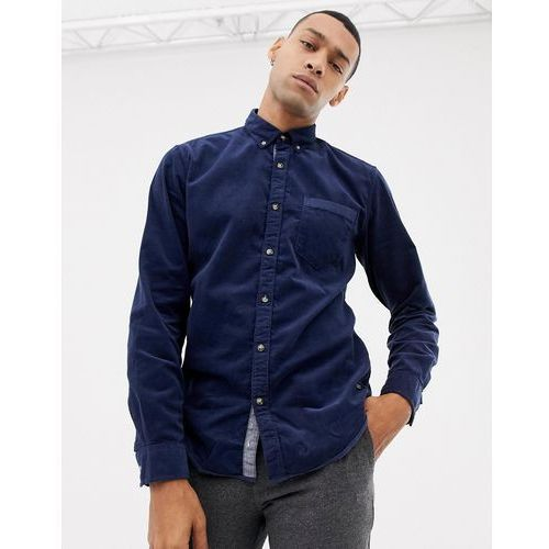 Esprit slim fit baby cord button down collar shirt in navy - navy