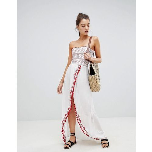 River island maxi shirred beach dress - white
