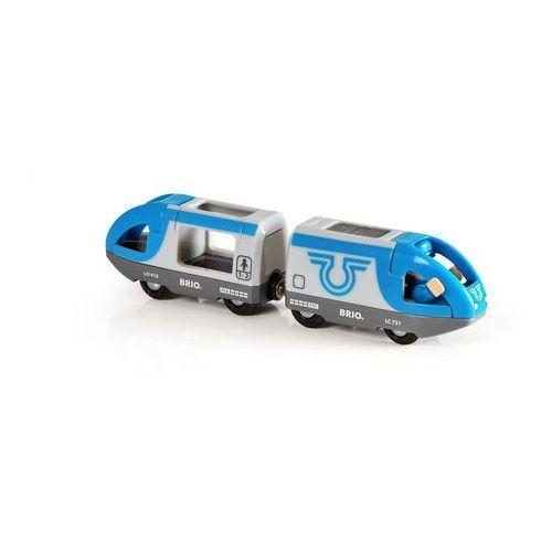 niebieski pociąg osobowy marki Brio