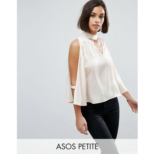 Asos petite  cold shoulder satin swing top with deep plunge and choker detail - beige