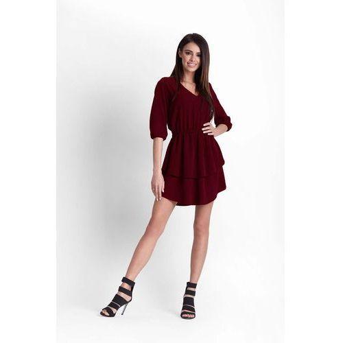 Bordowa Rozkloszowana Dziewczęca Sukienka z Dekoltem V, i252dre