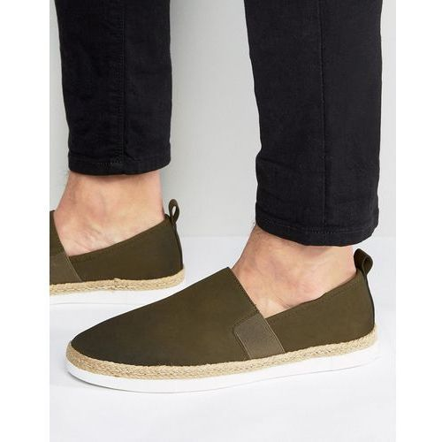 River Island Espadrilles With Rope Trim In Dark Khaki - Green
