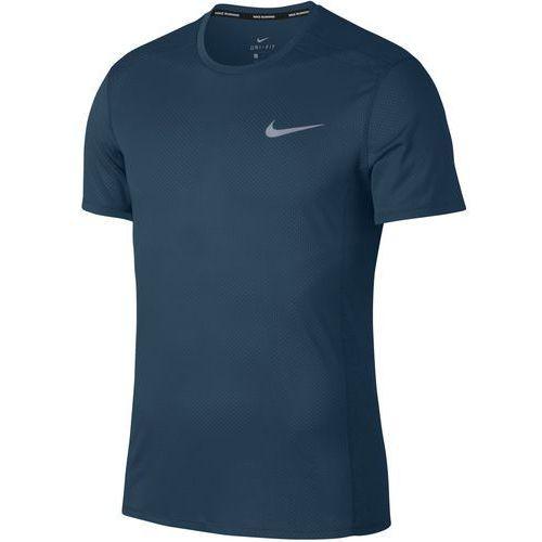 Nike t-shirt męski M NK Cool Miler Top SS Blue Force Htr Green Abyss L, kolor zielony