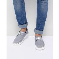 canvas boat shoe in mid grey - grey, New look