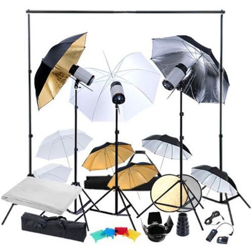 Vidaxl  zestaw studio: 3 lampy, 9 parasolek i tła (8718475821724)