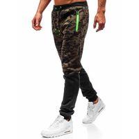 Spodnie męskie dresowe joggery zielone Denley 55022, kolor zielony