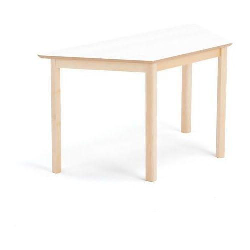 Stół dla dzieci zet, w kształcie trapezu, 1200x600x630 mm, brzoza, biały marki Aj produkty