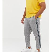 New look plus smart joggers with side stripe in black check - black