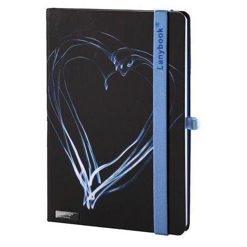 Lediberg Notes a6 lanybook night light w kratkę czarny z niebieską gumką