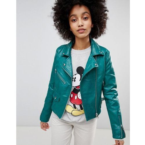 leather look biker jacket - green marki Bershka