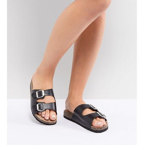 Park lane wide fit double buckle flat sandals - black