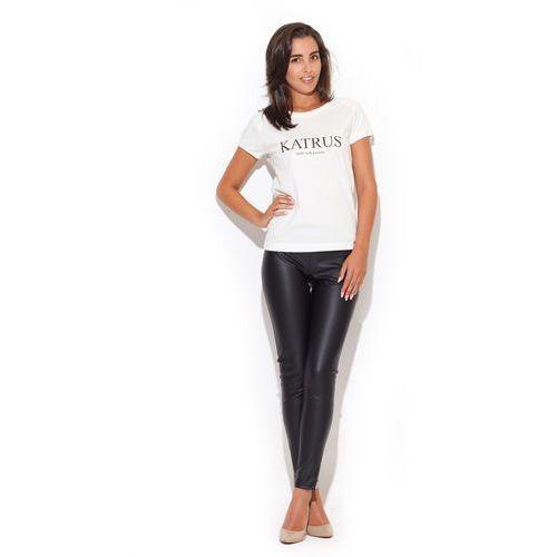 Ecru klasyczny t-shirt damski z nadrukiem, Katrus, 36-42