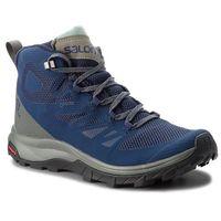 Trekkingi - outline mid gtx gore-tex 404764 27 v0 medieval blue/castor gray/green milleu marki Salomon