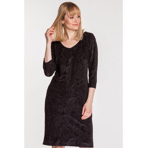 Czarna sukienka z błyszczącym wzorem - marki Potis & verso