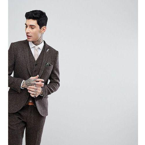 Heart & Dagger Skinny Suit Jacket In Harris Tweed In Herringbone - Brown