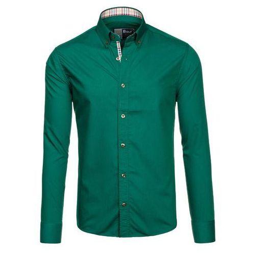 Zielona koszula męska elegancka z długim rękawem Bolf 6860 - ZIELONY