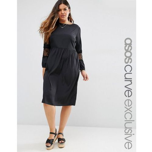 long sleeve midi dress with lace inserts - black marki Asos curve