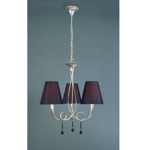 lampa wisząca PAOLA 3L srebrna z czarnymi abażurami, MANTRA 3532