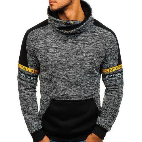 Bluza męska bez kaptura z nadrukiem czarna Denley HY284