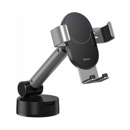 Baseus Simplism   Uchwyt samochodowy grawitacyjny do telefonu teleskopowy na deskę szybę kokpit - Srebrny (6953156220980)
