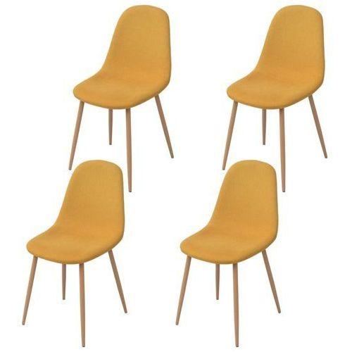 vidaXL Krzesło do jadalni 4 szt., tkanina, żółta (8718475527503)