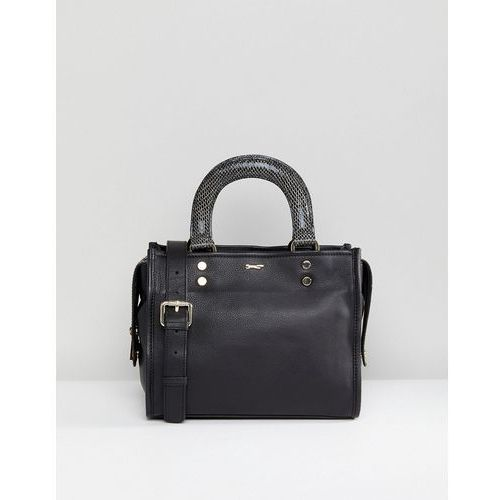 Paul Costelloe Real Leather Black Shoulder Bag with Structured Snake Print Handles - Black