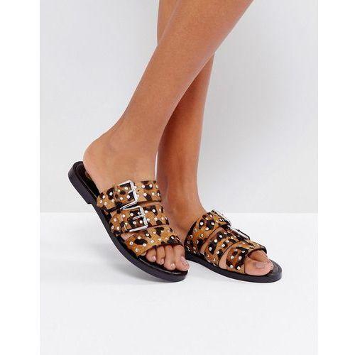 leopard print faux pony hair three strap sandals - multi marki River island