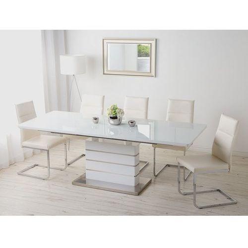 Stół do jadalni biały stal nierdzewna 180/220 x 90 cm rozkładany hamler marki Beliani